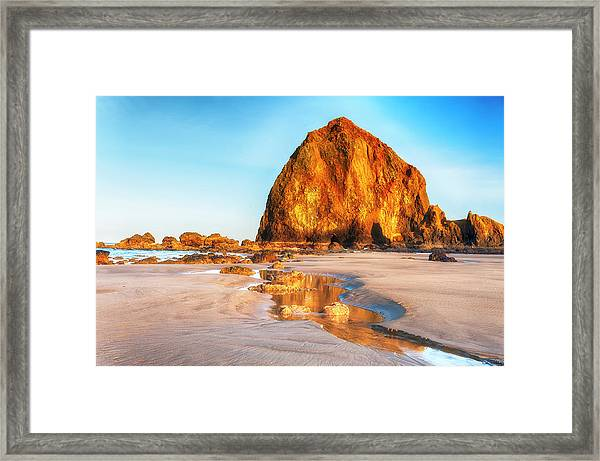 Framed Print featuring the photograph Liquid Gold Path At Low Tide by Dee Browning