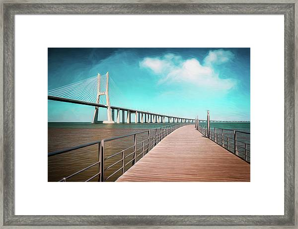 Lisbon Vasco Da Gama Bridge Portugal Framed Print
