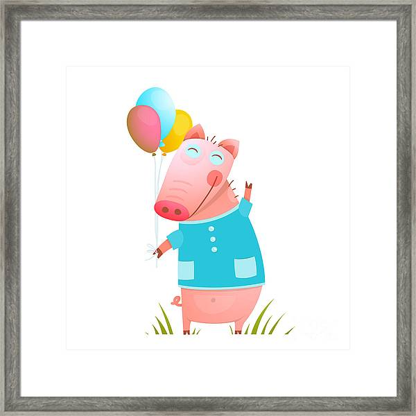 Little Adorable Baby Pig With Balloons Framed Print