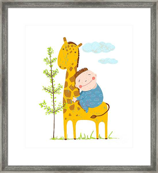Little Boy Hugging A Giraffe. Happy Framed Print