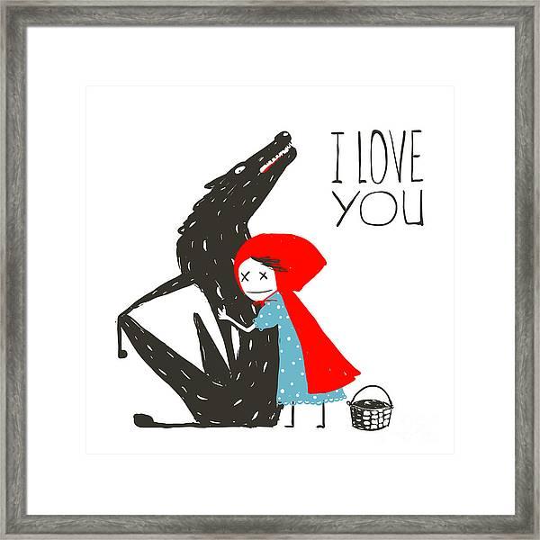 Little Red Riding Hood Loves Black Framed Print
