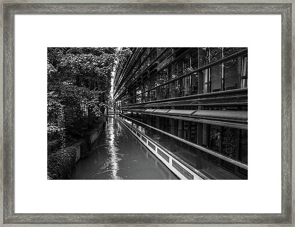Little River, Big Building Framed Print
