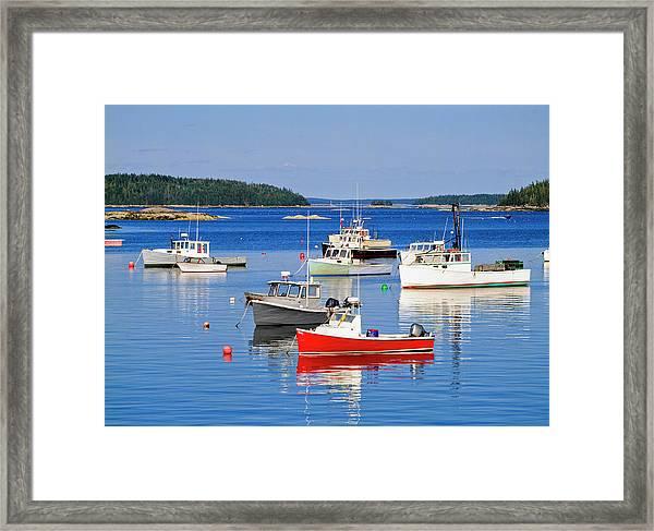 Lobster Boats In Stonington Harbour Framed Print