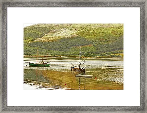 Loch Leven. The Boats At Ballachulish Framed Print
