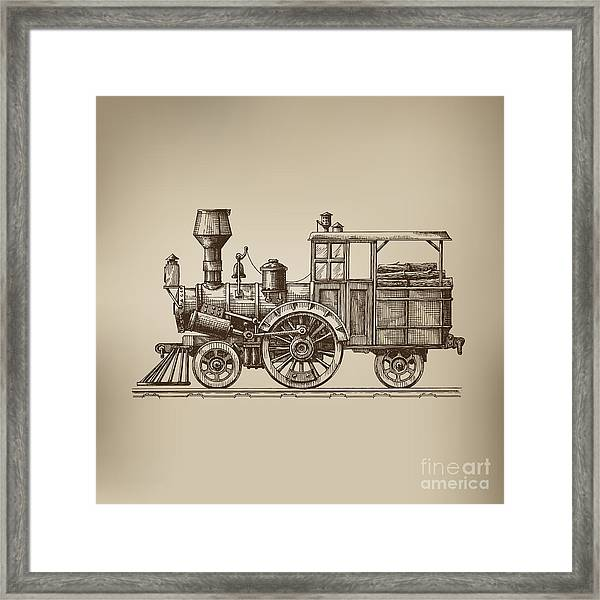 Locomotive. Vector Format Framed Print