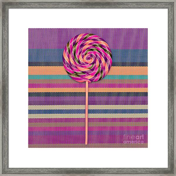 Lollipop On Bright Striped Background Framed Print