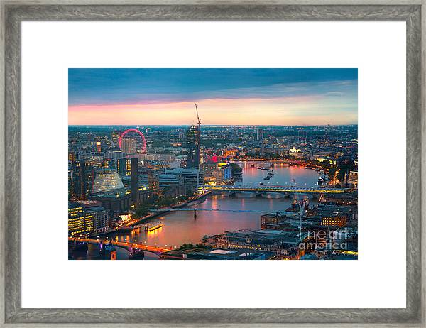 London At Sunset, Panoramic View Framed Print