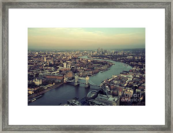 London Rooftop View Panorama At Sunset Framed Print