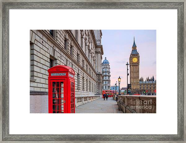 London Skyline With Big Ben And Houses Framed Print