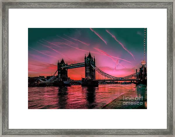 London Tower Bridge Sunrise Pano Framed Print