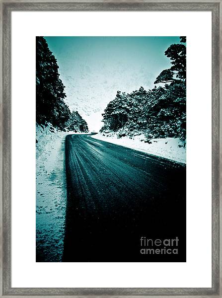 Lonely Road In The Countryside For A Car Trip And Disconnect From Stress Framed Print