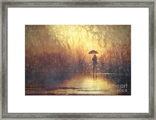 Lonely Woman With Umbrella In Framed Print