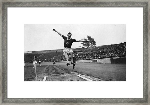 Long Jump Framed Print by Topical Press Agency