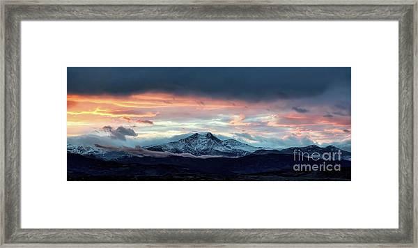 Longs Peak At Sunset Framed Print