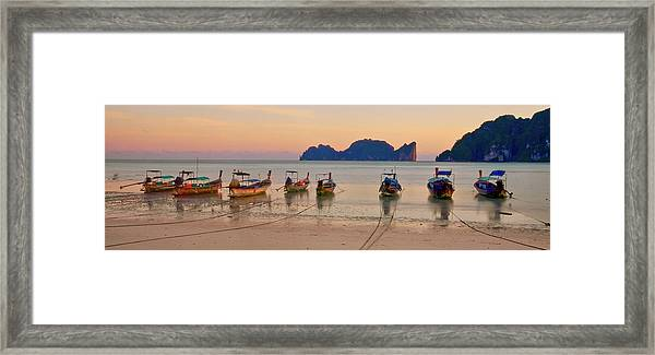 Longtail Boats On Beach At Sunset Framed Print