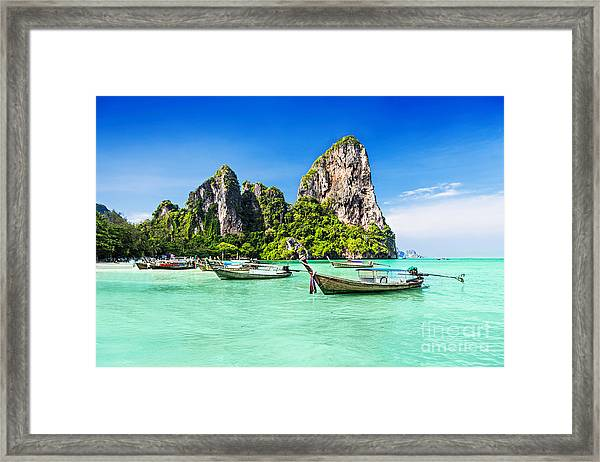 Longtale Boats At The Beautiful Beach Framed Print