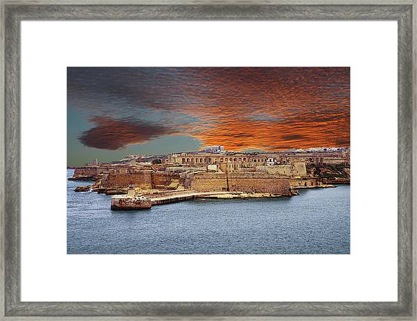 Looking Across Harbor From Fort St Elmo To  Fort Rikasoli Framed Print