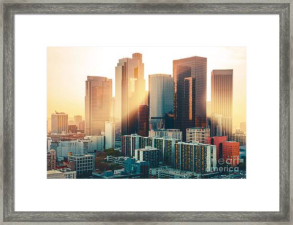Los Angeles Downtown Skyline At Sunset Framed Print