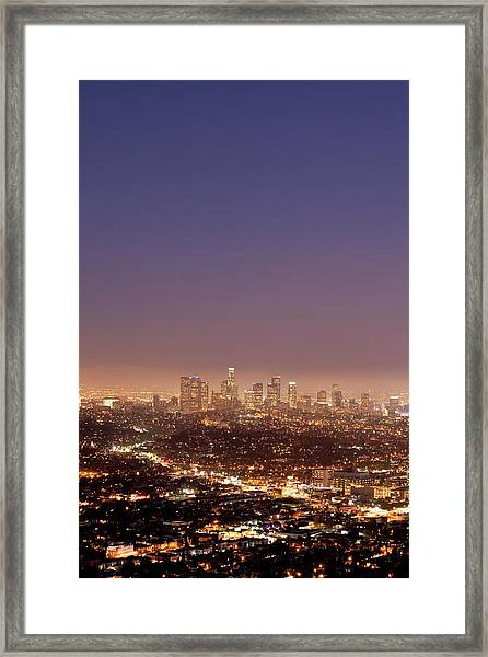 Los Angeles Skyline At Twilight Framed Print