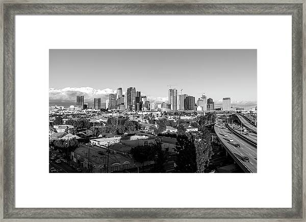 Los Angeles Skyline Looking East 2.9.19 - Black And White Framed Print