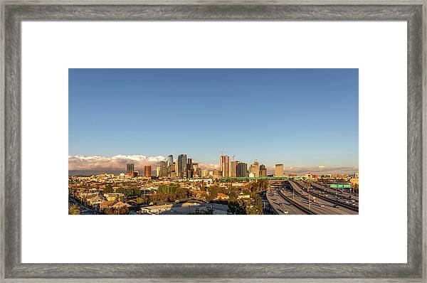 Los Angeles Skyline Looking East Panorama 2.9.19 Framed Print