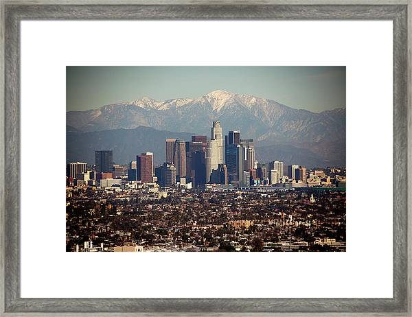 Los Angeles Skyline With Snow Capped Framed Print