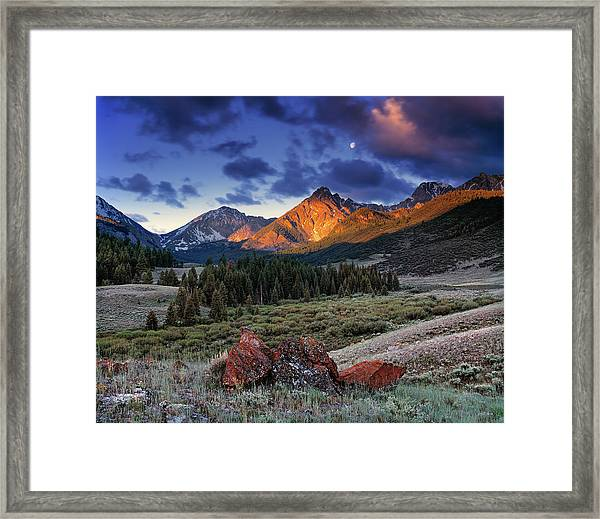 Lost River Mountains Moon Framed Print