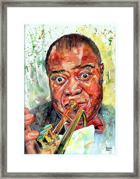 Louis Armstrong Portrait Painting Framed Print