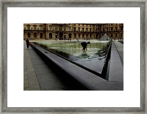 Louvre, Water Framed Print