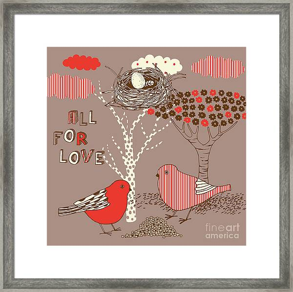 Love Background With Birds Framed Print