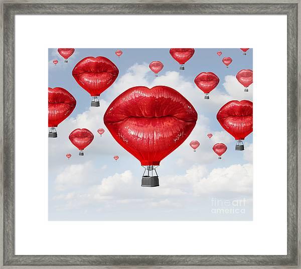 Love Balloons As A Hot Air Balloon Made Framed Print