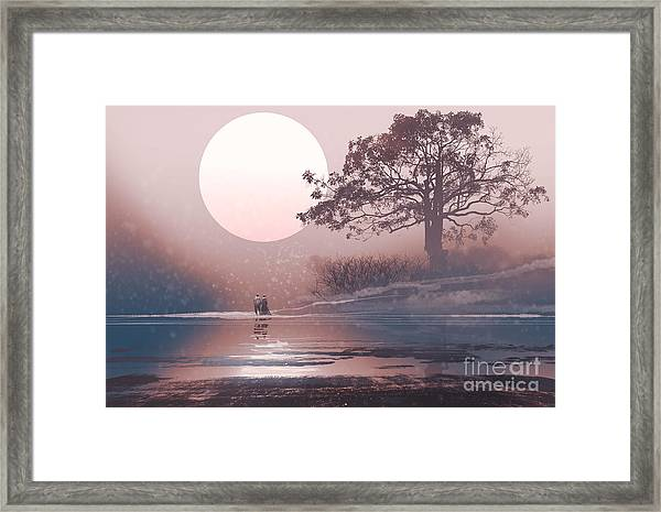 Love Couple In Winter Landscape With Framed Print