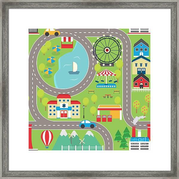 Lovely City Landscape Car Track Framed Print by Medejaja