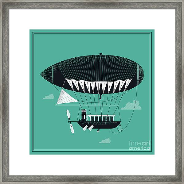 Lovely Vector Airship Illustration | Framed Print by Mascha Tace