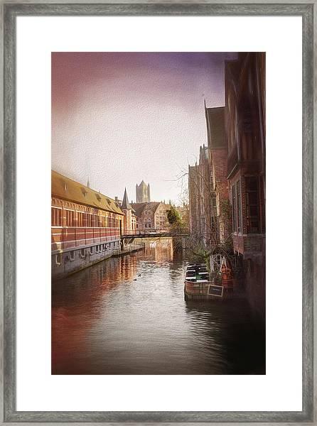 Low Winter Sun Ghent Belgium Framed Print