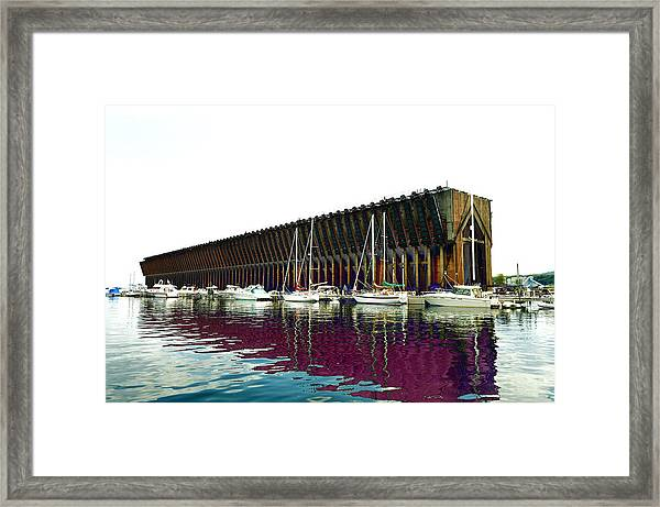 Lower Harbor Ore Dock At Marquette Michigan. Framed Print
