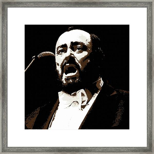 Luciano Pavarotti Portrait Painting Framed Print