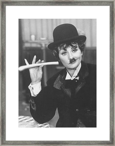 Lucille Ball Dressed As Charlie Chaplin Framed Print