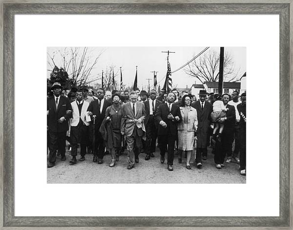 Luther King Marches Framed Print