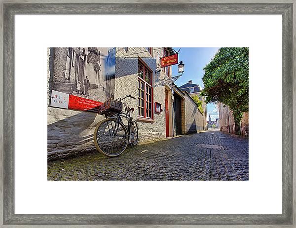 Lux Cobblestone Road Brugge Belgium Framed Print