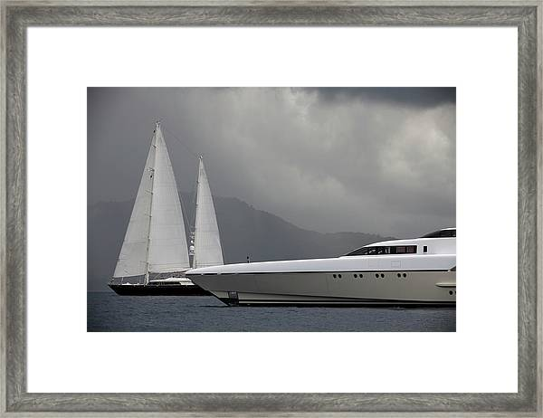 Luxury Yacht And Sailboats Before A Framed Print