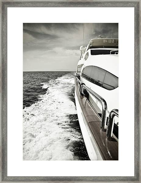 Luxury Yacht Sailing At High Speed In Framed Print