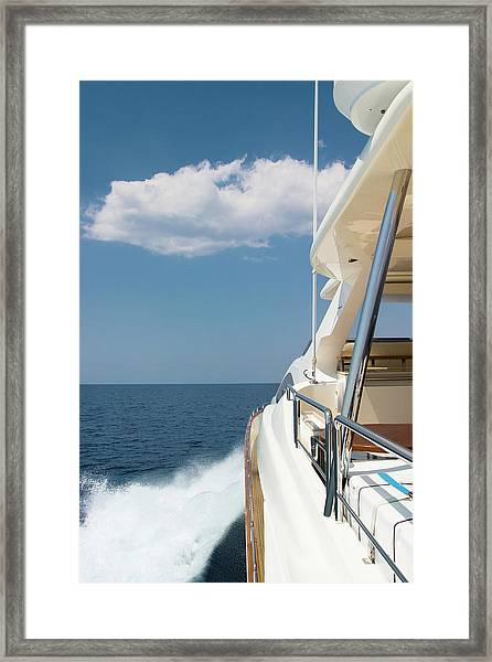 Luxury Yacht Sailing At High Speed Framed Print