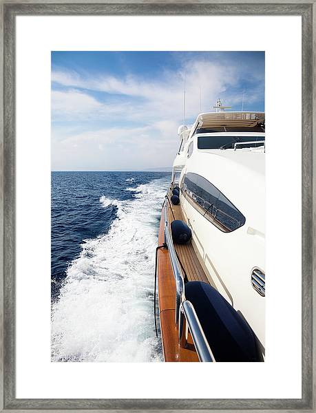 Luxury Yacht Sailing At Sea Framed Print
