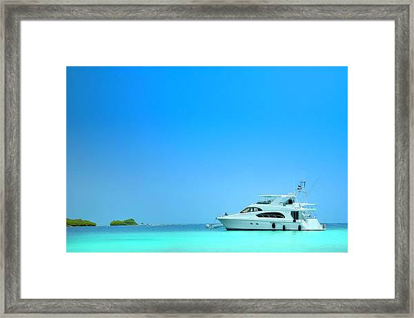 Luxury Yachts Sailing In A Tropical Framed Print