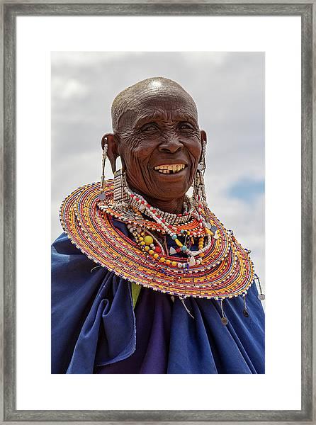 Maasai Woman In Tanzania Framed Print