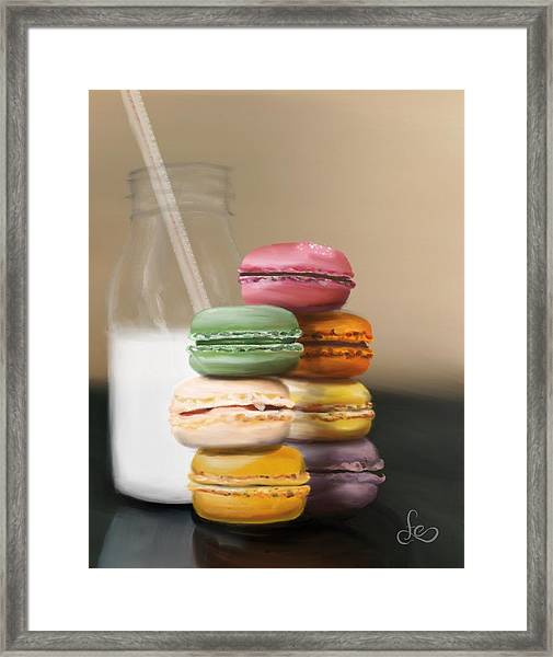Framed Print featuring the pastel Macaroons  by Fe Jones