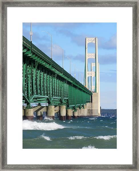 Mackinac Bridge And Waves Framed Print