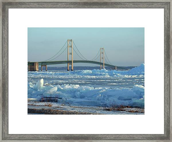 Mackinac Bridge In Ice 2161801 Framed Print