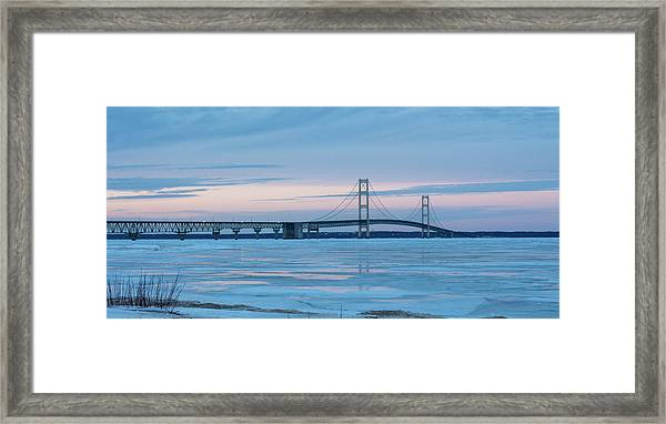 Mackinac Bridge In Ice 2161803 Framed Print